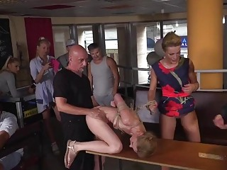 Blondie Czech babe gets fucked up her tight butt hole