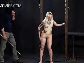 Blondie with small tits gets her body caned real hard