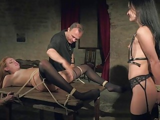 Two skinny gals get spanked and teased by a stud