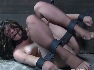 Gorgeous blonde is tied up and teased until she screams