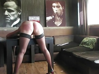 Pale chick with a fat ass gets ass spanked hard