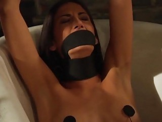 Blondie with nice titties enjoys getting pounded by strapon lesbian