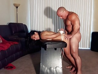 Submissive girl gets pounded by her muscular sadistic dom hard