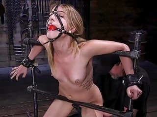 Skinny girl with small titties gets teased by sadist master