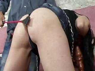 Slave gets stepped on and tortured by hung horny master
