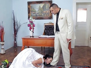 Stunning bride is pinned down and pounded after the wedding