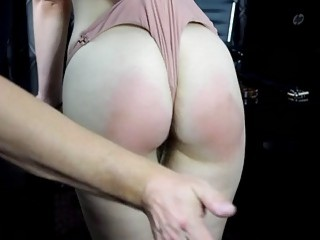 Skinny babes get spanked on their big fat white butts