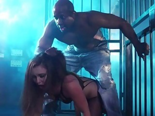 Chick gets pounded hard by an African slave in cage