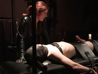 Dude lays down and gets tortured by a dominant chick