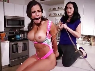 Hispanic girl is tied up and fucked up her pussy