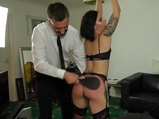 Chick with a fat ass gets spanked hard by master
