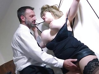Old dude ties up young chick and fucks her hard