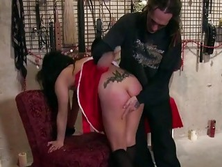 Pervy chick gets tied up and spanked by her dom