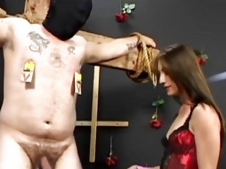 Dude's fat ass is tortured by his horny cute mistress