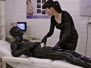 Goth girl fucks a dude with a gas mask on