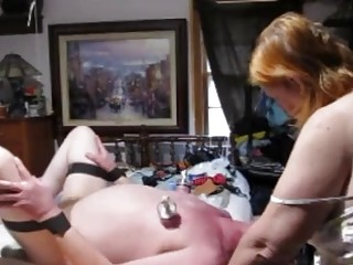 BDSM femdom from mature wife to a pathetic old man