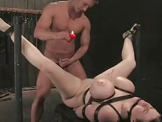 Submissive girl with big tits loves BDSM and pussy waxing