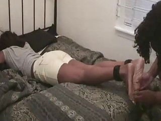 Submissive girl pleases her master with BDSM and foot fetish