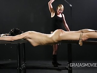 Dominated slut is whipped and humiliated by her lesbian lover