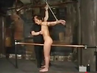 Lusty natural tits babe is punished roughly by her master