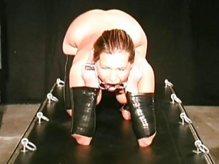 Slave had her tits bounded in the sex dungeon BDSM